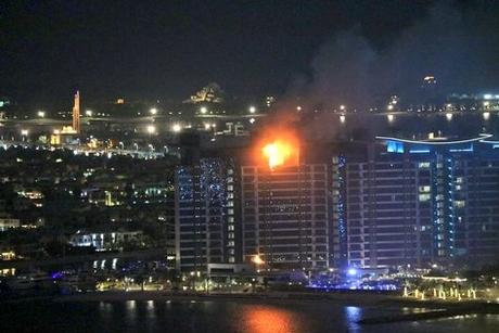 Fire engulfs Palm Jumeirah residential tower