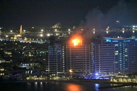 Fire engulfs Palm Jumeirah residential tower