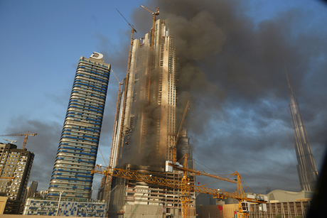 In Pictures: Building catches fire near Dubai Mall