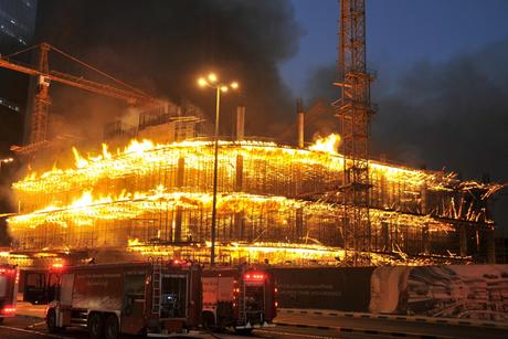 Three firefighters injured battling construction site blaze in Kuwait