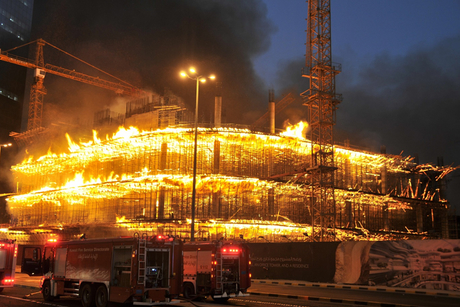 Three firefighters injured battling construction site blaze in Kuwait