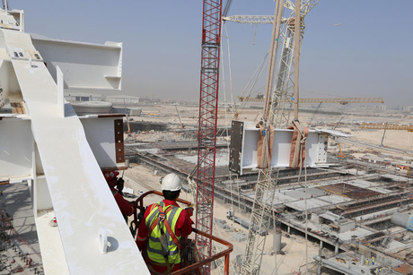 Midfield Terminal's 319m steel structure completes