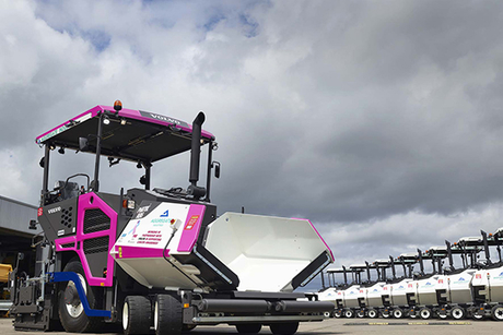 Volvo CE paints pavers pink for cancer awareness