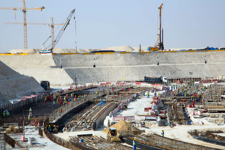 Construction advancing on Al Bayt Stadium bowl