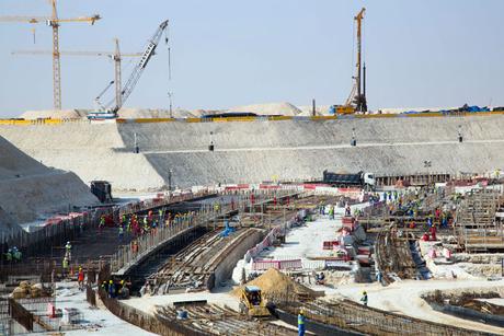 Construction advancing on Al Bayt Stadium bowl