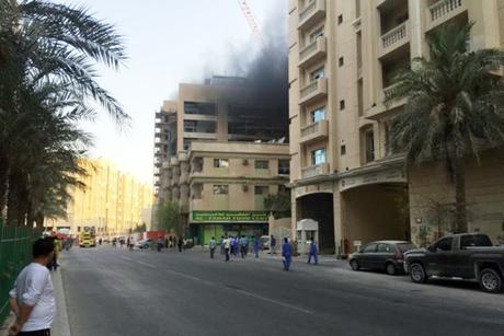 Doha: Fire at Bin Mahmoud construction site