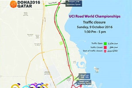Doha: Traffic diversions during UCI Championships