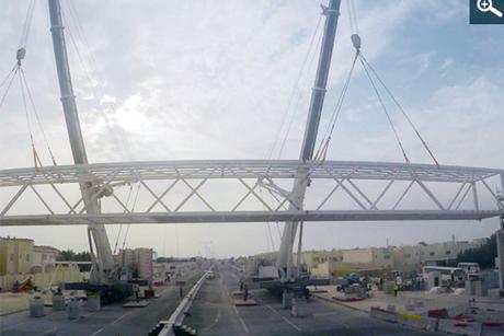 Doha: Pedestrian bridge installed on E-Ring Road