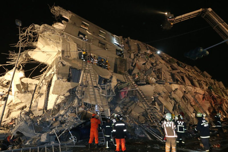 Earthquake topples 17-storey building in Taiwan