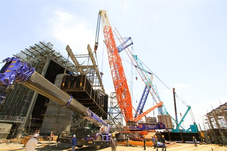 Liebherr cranes used to erect Thai power plant