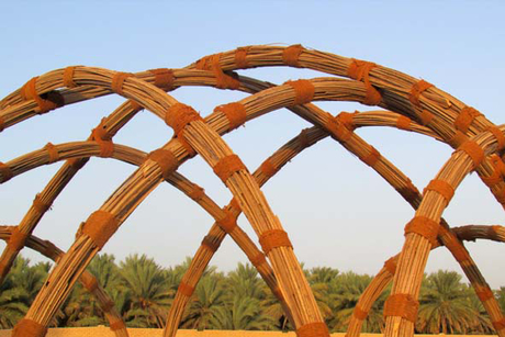 Date palm materials used to create food shelter
