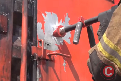 UAE firefighters test wall-piercing extinguisher