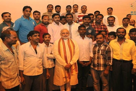 UAE: Indian PM Narendra Modi meets workers at ICAD