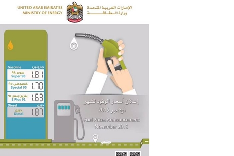 UAE gasoline, diesel prices lowered for Nov. 2015