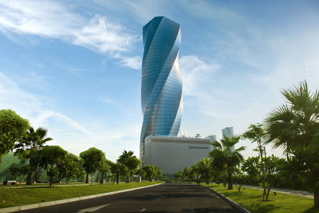 Bahrain's twisted United Tower fitted with Thyssenkrupp lifts