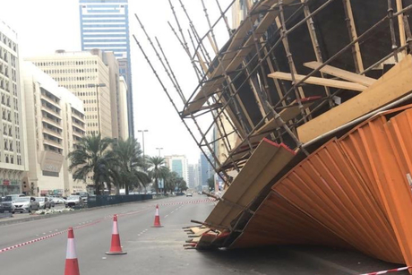 Scaffolding collapses at building demolition site in Abu Dhabi