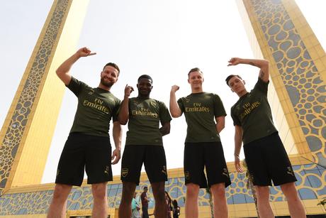 Arsenal football stars Mesut Ozil, Shkodran Mustafi visit Dubai Frame