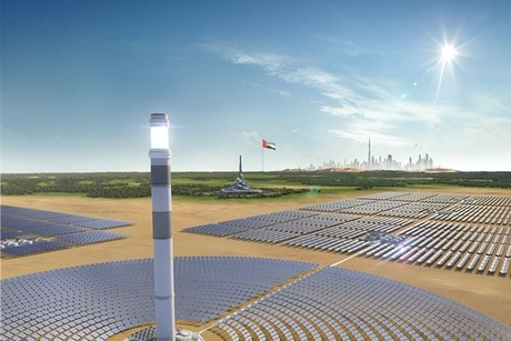Construction progress on MBR Solar Park – Phase 4's 260m solar tower