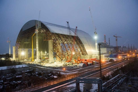 Damaged Chernobyl reactor covered 33 years after nuclear disaster