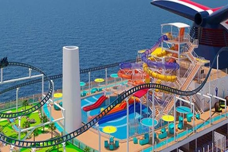 Work starts on Mardi Gras ship with world's first 'rollercoaster in the sea'