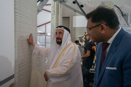 VIDEO: Sharjah Ruler inspects Cybe, AUS's 3D-printed home at SRTI Park