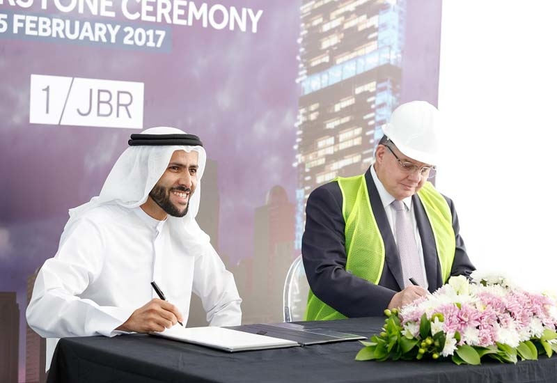 Abdulla Bin Lahej, group CEO, Dubai Properties and Ian Harper, contract director, DCC at the signing ceremony.