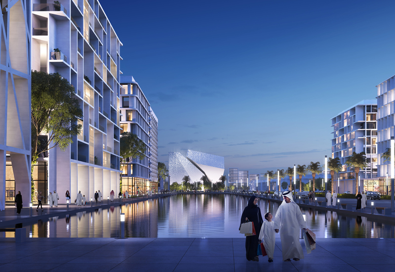 Rendering of Aljada development in Sharjah, UAE.