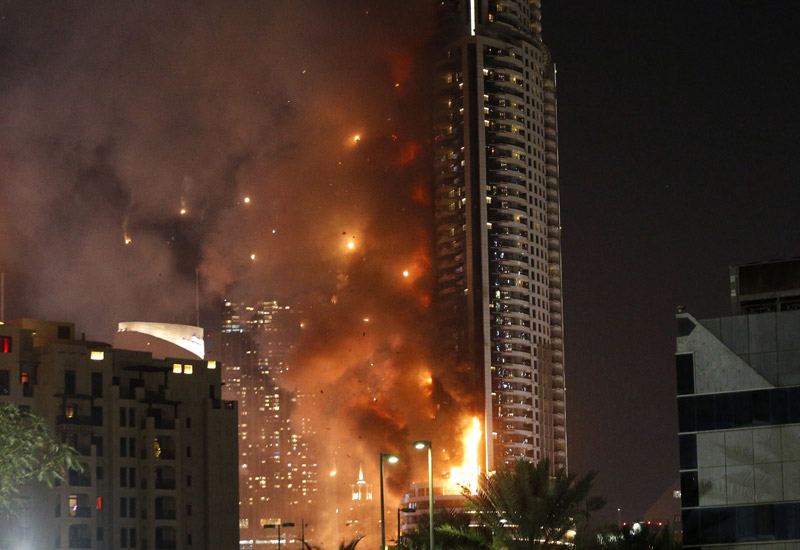 A fire gutted The Address Downtown Dubai on NYE 2015. (Getty Images)