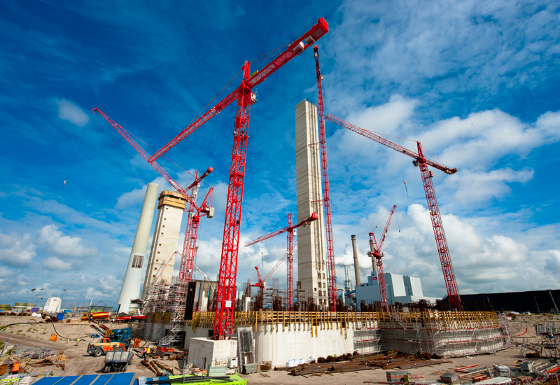 Wolffkran cranes, big and small, support the construction of a powerstation's core and walls in the Netherlands.
