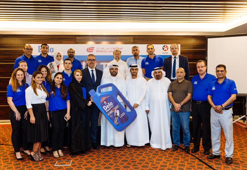 Representatives from Chevron Al Khalij and EPPCO at the event announcing their withdrawal of CF product and the launch of the Delo FleetPro range of CH-4 diesel engine oils.
