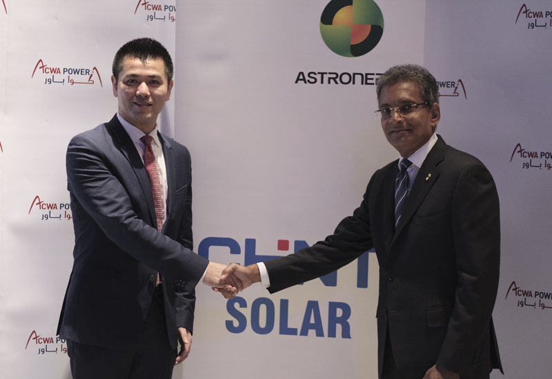 ACWA Power signs EPC contract with Chinas Chint Group for three solar photovoltaic power plants in Egypt during WFES 2018.