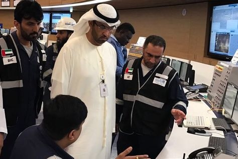 ADNOC CEO Sultan Al Jaber visited the Takreer Ruwais command team following the fire. [Image: Twitter / ADNOC]