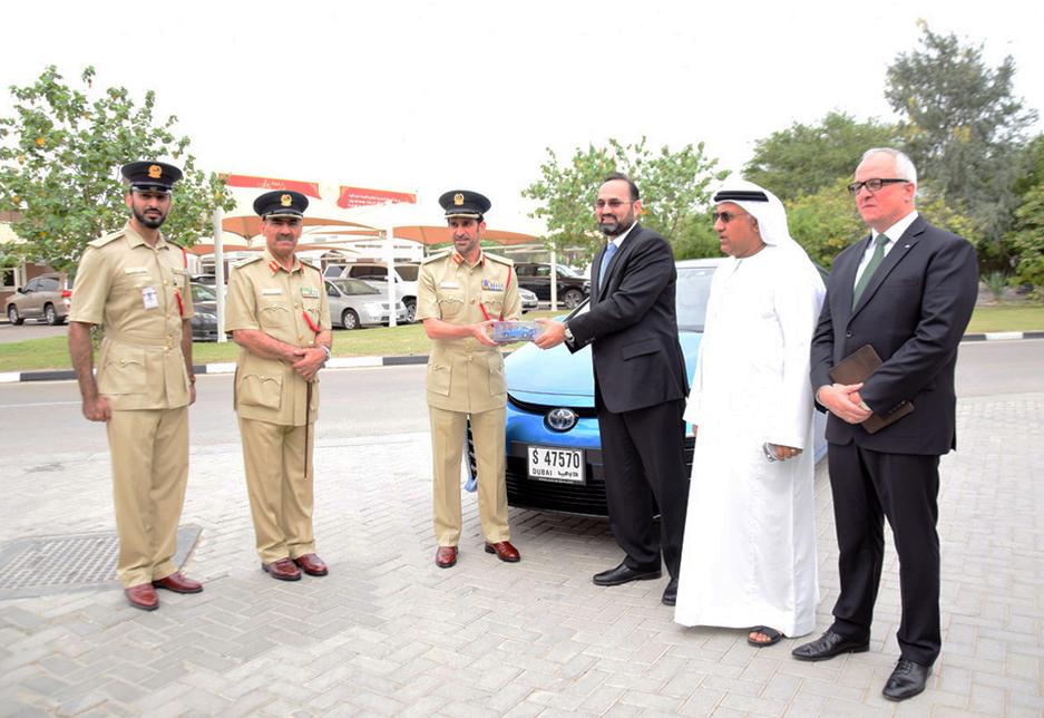 Major General Abdullah Khalifa Al Merri, commander-in-chief of Dubai Police attends the handover of a Toyota Mirai by Al-Futtaim Motors.