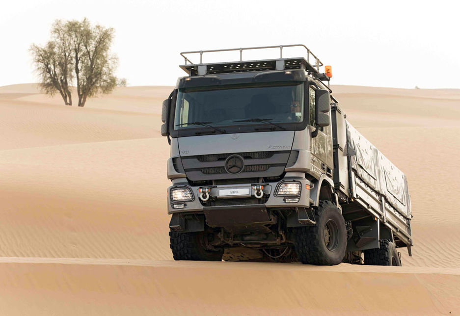 The EMC engine endurance testing facility pits Mercedes-Benz trucks against conditions that simulate the toughest desert environments.