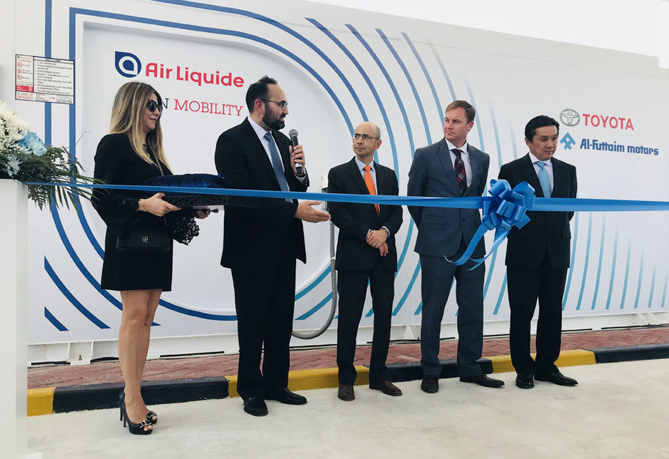 Representatives from France's Air Liquide and the UAE's Al-Futtaim Motors at the launch of the hydrogen re-fuelling station.