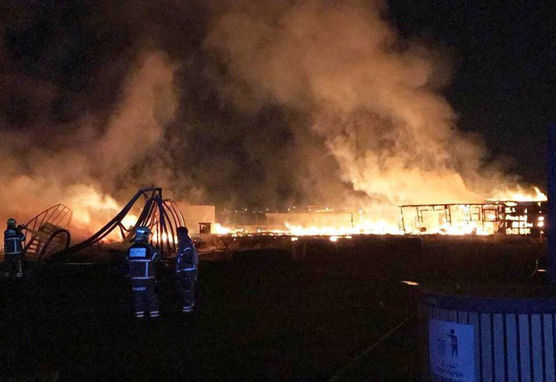 The blaze destroyed 10 labourers' caravans on Nakheel's Warsan 3 worksite [image: DCD].
