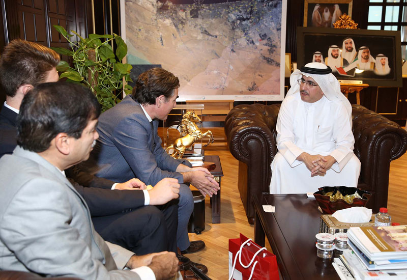 DEWA's Al Tayer meeting with the delegation from the Swiss Consulate in Dubai.