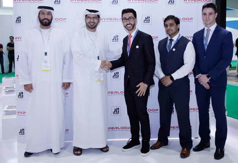 Officials from Aldar and Hyperloop TT signed the MoU.