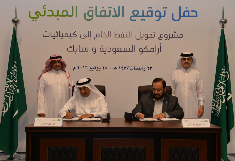 Saudi Aramco and SABIC have signed a heads of agreement to conduct a feasibility study on the development of a crude oil-to-chemicals plant in the kingdom.
