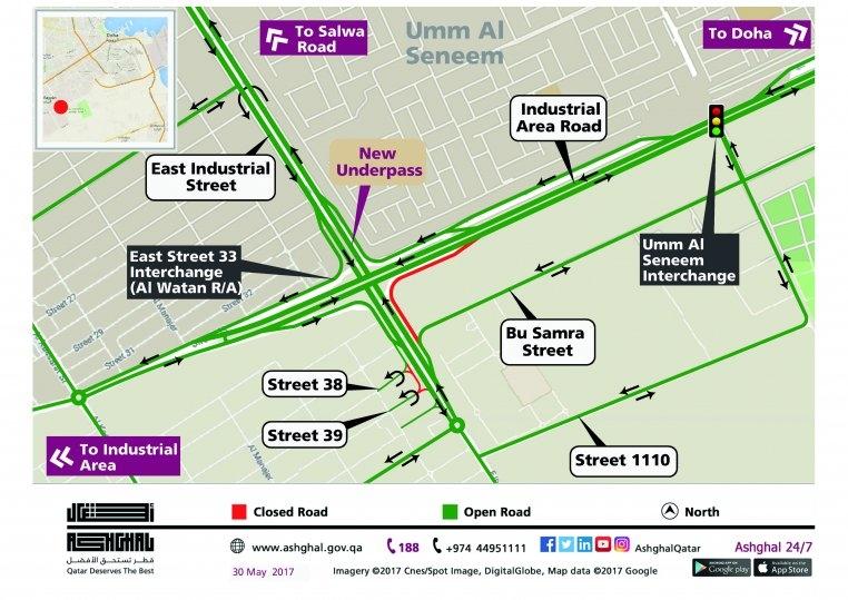 A map illustration of the new Rawdar Al Khail underpass.