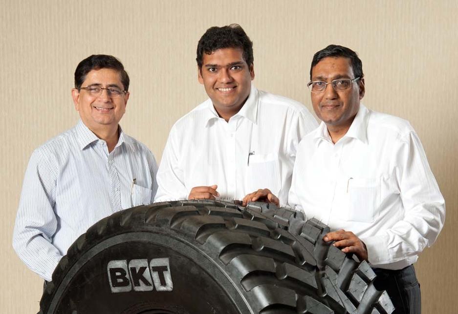 BKT's top management, L-R: Dilip Vaidya, Rajiv Poddar and ArvindPoddar.