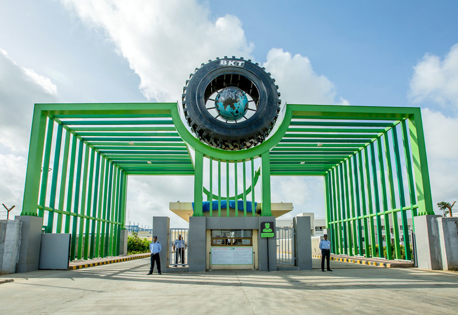 The entrance to BKT's 120-hectare Bhuj plant in Gujarat, India.