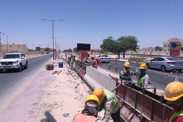 Roadworks in progress in Bahrain.
