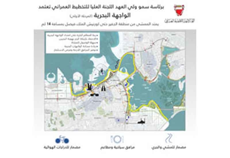 Bahrain's Higher Urban Planning Committee has approved the Manama-Muharraq project's master-plan [image: BNA].
