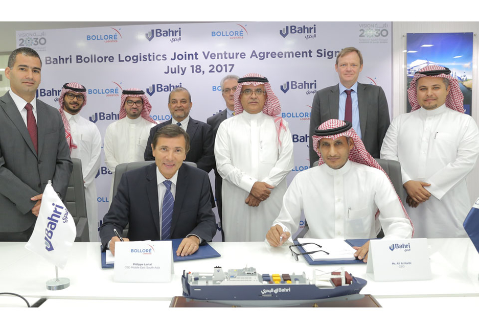 L-R: Philippe Lortal, CEO of Bolloré Logistics Middle East – South Asia, and Ali Al-Harbi, acting CEO of Bahri.