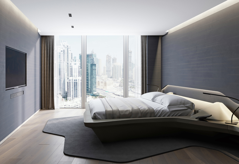 Bedroom in a residential apartment in The Opus.
