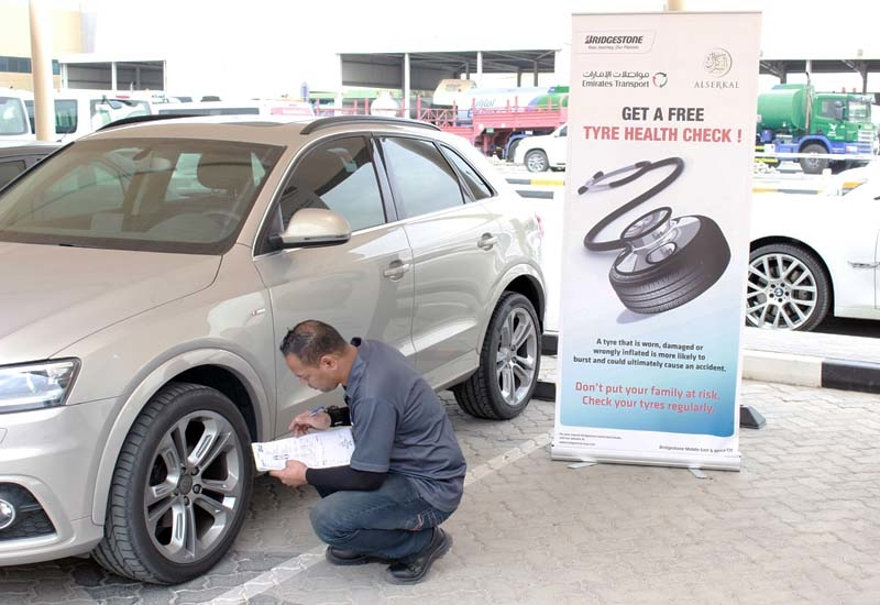 The tyres of vehicles belonging to Emirates Transport staff were also checked – to reinforce the idea that safety is important both at and away from work.