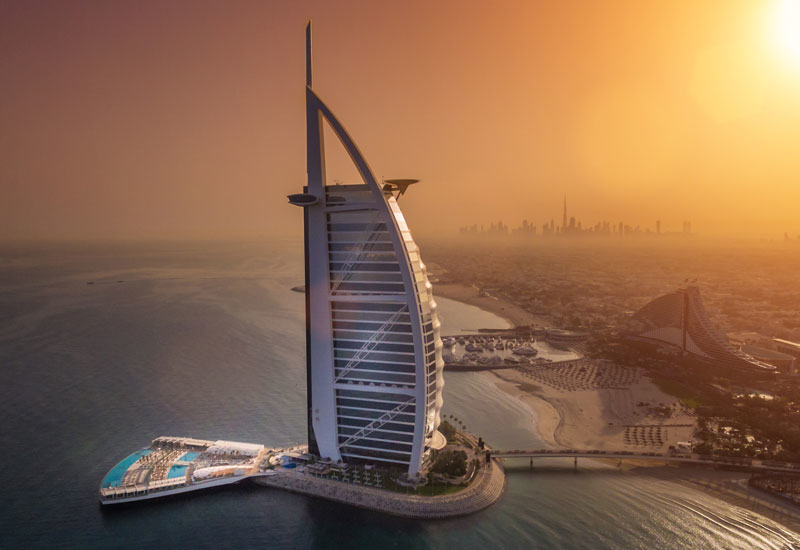 Burj Al Arab Terrace spans 10,000m2 and offers uninterrupted views of the main hotel building.