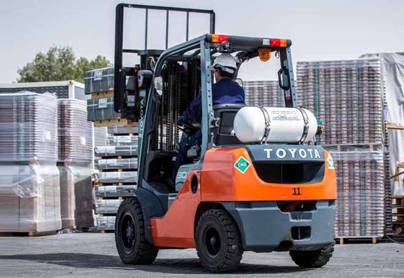 Compressed natural gas forklift trucks could save firms money thanks to lower fuel costs.