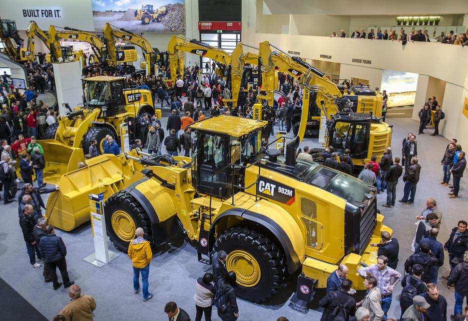 Caterpillar wheel loaders on display at Bauma 2016 in Munich, Germany.